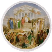 The Age Of Augustus, The Birth Of Christ Round Beach Towel