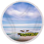 Round Beach Towel featuring the photograph The Calm Sea. by Gary Gillette