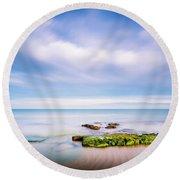 The Calm Sea. Round Beach Towel