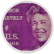 The Eleanor Roosevelt Stamp Round Beach Towel