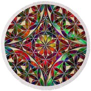 The Flower Of Life Round Beach Towel