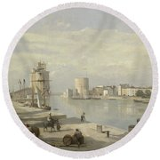 The Harbor Of La Rochelle Round Beach Towel by Jean Baptiste Camille Corot