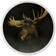 The Moose Round Beach Towel by Ernie Echols