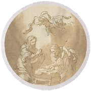 The Nativity Round Beach Towel