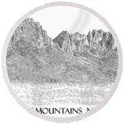 Round Beach Towel featuring the painting The Organ Mountains by Jack Pumphrey
