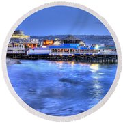 Redondo Landing At Night Round Beach Towel by Richard J Cassato