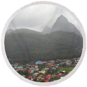 Round Beach Towel featuring the photograph The Pilons by Gary Wonning