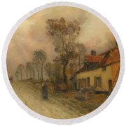 Round Beach Towel featuring the painting The Route Nationale At Samer by Jean-Charles Cazin