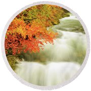 The Soteska Vintgar Gorge In Autumn Round Beach Towel