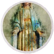 The Virgin Mary Round Beach Towel