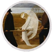 Round Beach Towel featuring the painting The Wounded Angel by Hugo Simberg