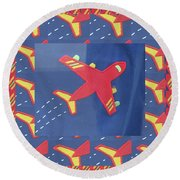Round Beach Towel featuring the digital art Theme Aviation Aeroplanes Aircraft Travel Holidays Christmas Birthday Festival Gifts Tshirts Pillows by Navin Joshi