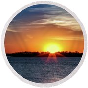 Thunderbird Sunset Round Beach Towel by Doug Long