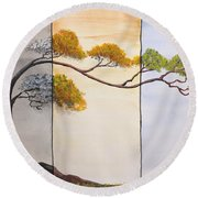 Round Beach Towel featuring the painting Time After Time by Edwin Alverio