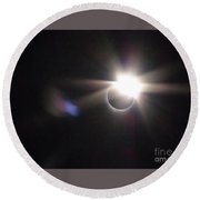 Total Eclipse 2017 Lens Flare Round Beach Towel