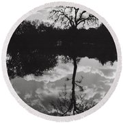 Tree Reflection Sebastopol Ca, Round Beach Towel