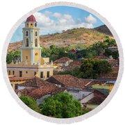 Round Beach Towel featuring the photograph Trinidad Cuba Cityscape II by Joan Carroll