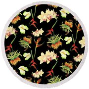 Tropical Island Floral Half Drop Pattern Round Beach Towel
