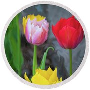 Round Beach Towel featuring the digital art Tulips by Cristina Stefan