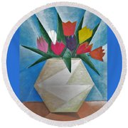Tulips Round Beach Towel by Tamara Savchenko
