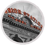 Union Station - Denver  Round Beach Towel by Mountain Dreams