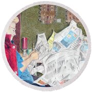 Round Beach Towel featuring the drawing Unwrap by Yoshiko Mishina