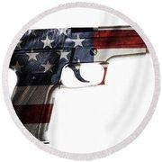 Usa Gun  Round Beach Towel