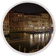 Venice By Night Round Beach Towel