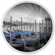 Round Beach Towel featuring the photograph Venice Grand Canal And St Mark's Campanile by Melanie Viola
