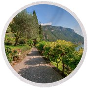 Round Beach Towel featuring the photograph Villa Cipressi Gardens by Brenda Jacobs