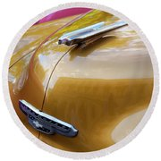 Round Beach Towel featuring the photograph Vintage Chevy Hood Ornament Havana Cuba by Charles Harden