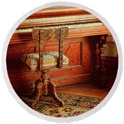 Round Beach Towel featuring the photograph Vintage Piano by Jill Battaglia