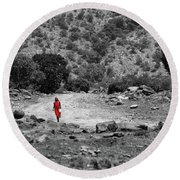 Round Beach Towel featuring the photograph Walk  by Charuhas Images