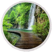 Walking Through Waterfalls - Plitvice Lakes National Park, Croatia Round Beach Towel
