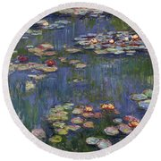 Water Lilies, 1916 Round Beach Towel by Claude Monet