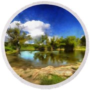 Watering Hole Round Beach Towel by Ricky Dean