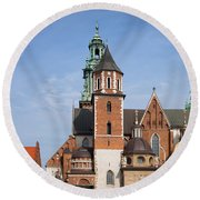 Wawel Cathedral In Krakow Round Beach Towel