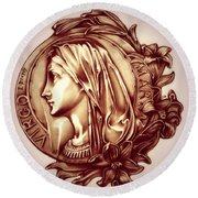 White Lilly Of The Virgin Mary Round Beach Towel by Fred Larucci