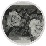 2 White Roses Round Beach Towel by Quwatha Valentine