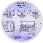 Willys Jeep Blueprint Round Beach Towel