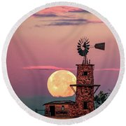 Windmill At Moonset Round Beach Towel