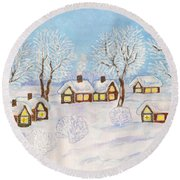 Winter Landscape, Painting Round Beach Towel