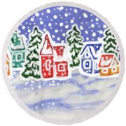 Winter Landscape With Multicolor Houses, Painting Round Beach Towel