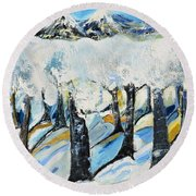 Winterland Round Beach Towel by Evelina Popilian