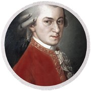 Round Beach Towel featuring the photograph Wolfgang Amadeus Mozart by Granger