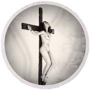 Woman On Crucifix Round Beach Towel