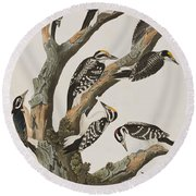 Woodpeckers Round Beach Towel