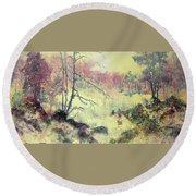 Woods And Wetlands Round Beach Towel by Carolyn Rosenberger