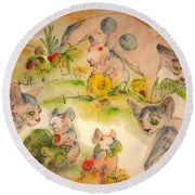 Round Beach Towel featuring the painting World Of Guinea Pigs And Naked Cats Album by Debbi Saccomanno Chan