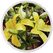 Round Beach Towel featuring the photograph Yellow Lily by Elvira Ladocki